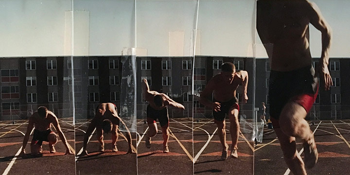 John Raimondi, Athleta Photo Study - runner starts, series of 5, color photograph, 1990