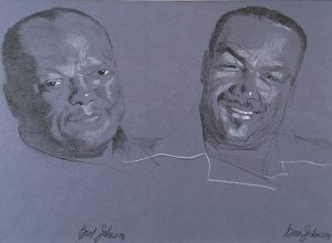 Jazz Drawing #1 - Bud Johnson & Gus Johnson, pencil, color pencil, n.d.