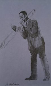 John Falter, Jazz Drawing, #3 - Vic Dickenson, pencil, n.d.