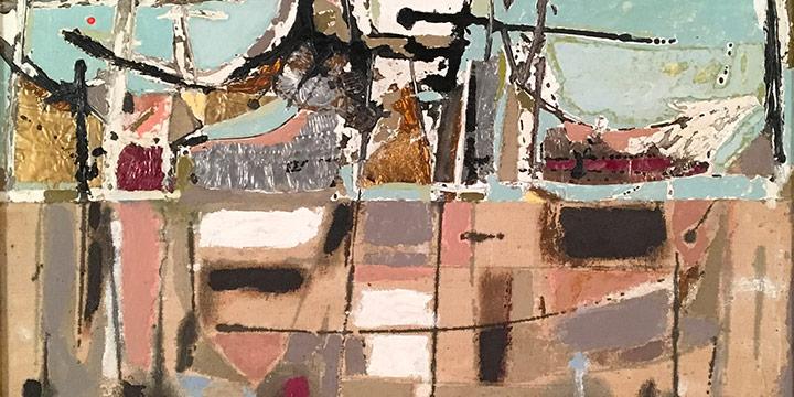Rudy Pozzatti, Seascape, collage, 1955