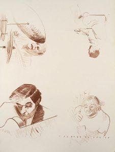 John Falter, Jazz Print Proof (brown on white), lithograph, n.d.
