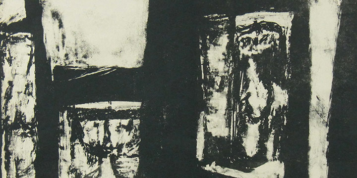 Roy DeForest, Untitled (abstract with figures, black), lithograph, c. 1952