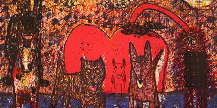 Roy DeForest, Untitled (dog, cat, figure on horse, exposed heart), lithograph (edition of 20), 1978