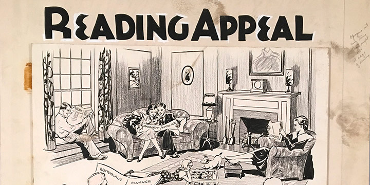 Oz Black,Page Illustration, Consider the Reading Appeal, ink illustration, 1932