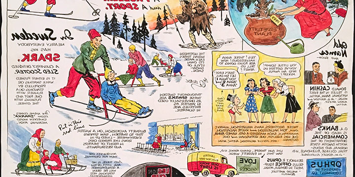 Oz Black, Page Illustration, Minneapolis Sunday Tribune, December 26, 1948, hand colored proof, 1948,