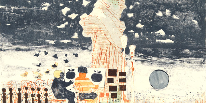 Dong Kingman, Untitled (students and statue), lithograph, 1973