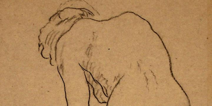 Lawton Parker, Standing Female Figure, crayon, n.d.