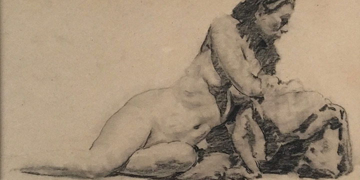 Lawton S. Parker, Leaning Nude , print, charcoal on board, n.d.