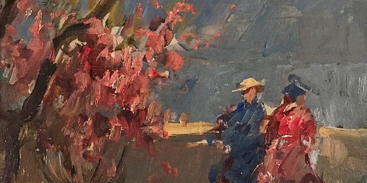 Lawton S. Parker, Two Figures in Landscape, oil on board, n.d.