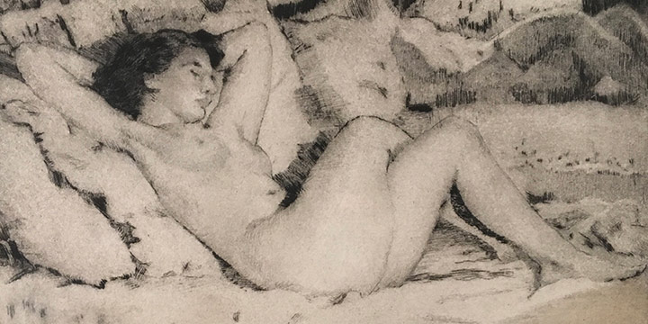 Lawton S. Parker, Reclining Nude, etching, n.d.
