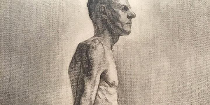 Lawton S. Parker, Standing Male, graphite on paper, n.d.