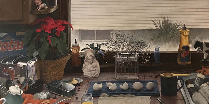 Kent Bellows, Kitchen Counter II (Dirty Dishes II), egg tempera on panel, 1984