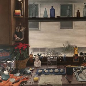 Kent Bellows, Kitchen Counter II (Dirty Dishes II), egg tempera on panel, 1984Museum Purchase made possible by Ron & Carol Cope Charitable Fund