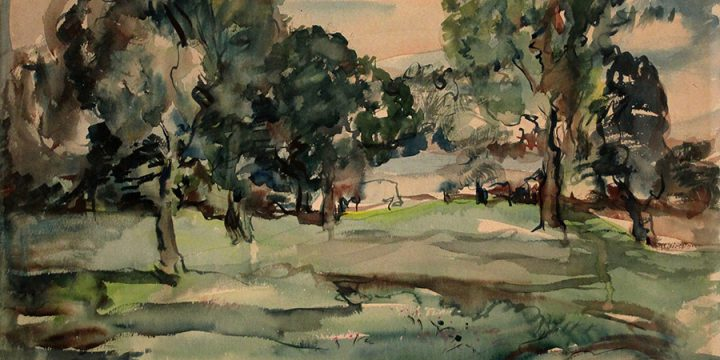 Barbara Ellis Ross, Untitled (landscape), watercolor, n.d.