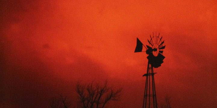William Jamison, Windmill Silhouette – Auburn, Nebraska, color photograph, 1985