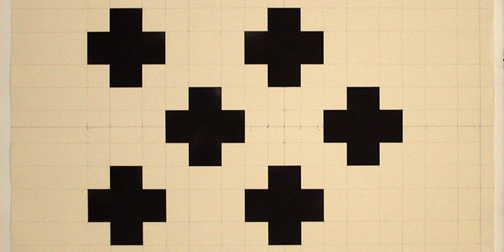 Joan Waltemath, Untitled (six crosses), graphite, ink 1993