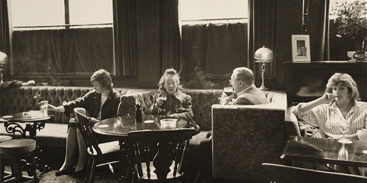 """George Tuck, Afternoon in the pub. London, black and white photograph, 1998. 8 × 12"""""""