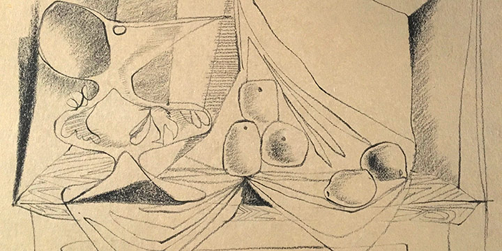 Keith Martin, The Green Vase, crayon on paper, 1947