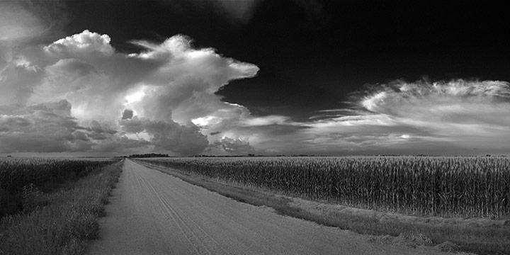 John Spence, Landscape Series: Saunders County, Nebraska, August 10, 2014, silver halide black & white photograph, 2014