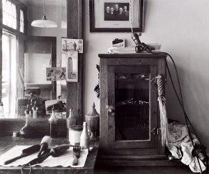 Wright Morris, Utensils and Cabinet, Cahow's Barber Shop, Chapman, Nebraska, 1942