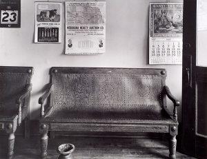 Wright Morris, Interior, Bench at Right, Cahow's Barber Shop, Chapman, Nebraska, 1947