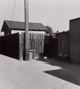 Wright Morris, Alley with Post and Sheds, Pomona, California, 1936