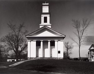 Wright Morris, Church and Square, Middlebury, Connecticut, 1940, silver print, 1975