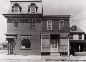 Wright Morris, Corner Barbershop with Angled Entrance, Chester, Pennsylvania, 1940, silver print, 1975