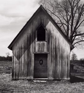 Wright Morris, Meeting House, Southbury, Connecticut, 1940, silver print, 1975