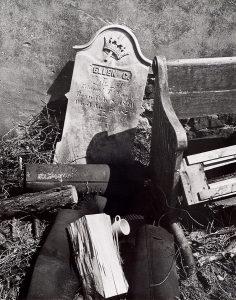 Wright Morris, Gravestone, Discarded Pew, Etcetera, Philadelphia, Pennsylvania, 1940, silver print, 1975