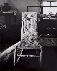 Wright Morris, Rocking Chair with Quilted Pad, Farmhouse, Near New Albany, Indiana, 1950, silver print, 1975