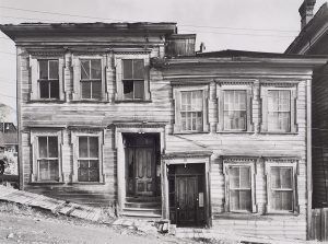 Wright Morris, Houses on Incline, Virginia City, Nevada, 1941, silver print, 1975