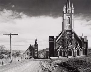 Wright Morris, Two Churches, Virginia City, Nevada, 1941, silver print, 1975