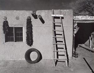 Wright Morris, Wright Morris, Pueblo Adobe with Tire, New Mexico, 1940, silver print, 1975