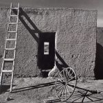 Wright Morris, Adobe House with Wagon Wheel, New Mexico, 1940, silver print, 1975