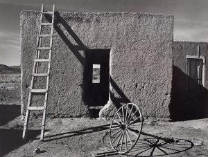 Wright Morris, Adobe House with Wagon Wheel, New Mexico, 1940, silver print, 1975