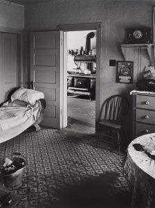 Wright Morris, Living Room, View into Kitchen, Ed's Place, Near Norfolk, Nebraska, 1947, silver print, 1975