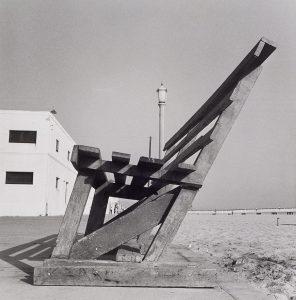 Wright Morris, Sidewalk Bench, Balboa, California, 1937, silver print, 1975