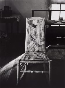 Wright Morris, Rocking Chair with Quilted Pad, Farmhouse, Near New Albany, Indiana, 1950 silver print, 1975