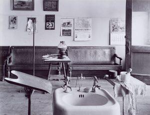 Wright Morris, Basin, Cahow's Barber Shop, Chapman, Nebraska, 1947 silver print, 1975