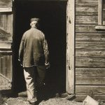 Wright Morris, Uncle Harry, Entering Barn, The Home Place, Near Norfolk, Nebraska, 1947 silver print, n.d.