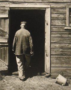 Wright Morris, Uncle Harry, Entering Barn, The Home Place, Near Norfolk, Nebraska, 1947 silver print, n.d.
