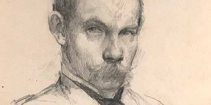 John Gutzon Borglum, Self Portrait, graphite pencil on paper, 1904