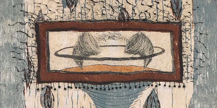 Peggy Gomez, Medici portfolio - Tornadic Vessels of Love, woodcut print (27/37), 2001