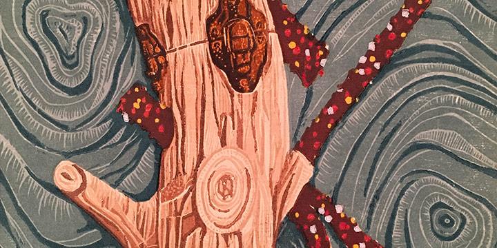 Kathy Puzey, Medici Portfolio - Imminent, woodcut print (13/30), 2001