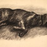 Grant Reynard, Untitled (resting dog), charcoal, 1940
