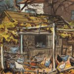 Grant Reynard, Chicken House, charcoal, watercolor, n.d.