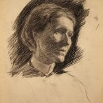 Grant Reynard, Untitled (unfinished sketch of woman), conte crayon, n.d.
