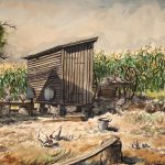 Grant Reynard, Corn Crib & Chickens 201.103, watercolor, n.d.
