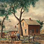Grant Reynard, Nebraska Farm, watercolor on board, n.d.